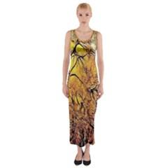 Summer Sun Set Fractal Forest Background Fitted Maxi Dress