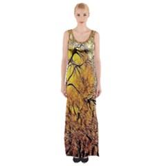 Summer Sun Set Fractal Forest Background Maxi Thigh Split Dress