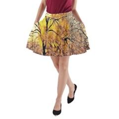 Summer Sun Set Fractal Forest Background A Line Pocket Skirt