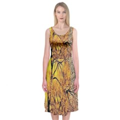 Summer Sun Set Fractal Forest Background Midi Sleeveless Dress