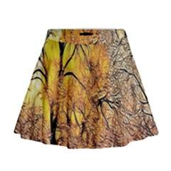 Summer Sun Set Fractal Forest Background Mini Flare Skirt