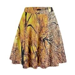 Summer Sun Set Fractal Forest Background High Waist Skirt