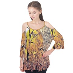Summer Sun Set Fractal Forest Background Flutter Tees