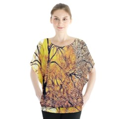 Summer Sun Set Fractal Forest Background Blouse