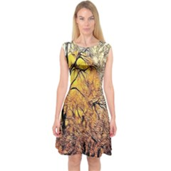 Summer Sun Set Fractal Forest Background Capsleeve Midi Dress
