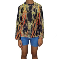 Artistic Effect Fractal Forest Background Kids  Long Sleeve Swimwear