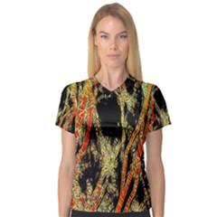 Artistic Effect Fractal Forest Background Women s V Neck Sport Mesh Tee