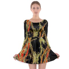 Artistic Effect Fractal Forest Background Long Sleeve Skater Dress