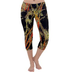 Artistic Effect Fractal Forest Background Capri Yoga Leggings