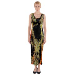 Artistic Effect Fractal Forest Background Fitted Maxi Dress
