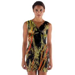 Artistic Effect Fractal Forest Background Wrap Front Bodycon Dress