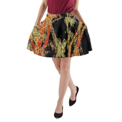 Artistic Effect Fractal Forest Background A Line Pocket Skirt
