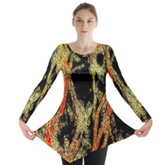 Artistic Effect Fractal Forest Background Long Sleeve Tunic