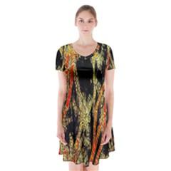 Artistic Effect Fractal Forest Background Short Sleeve V Neck Flare Dress