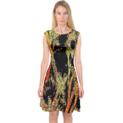 Artistic Effect Fractal Forest Background Capsleeve Midi Dress