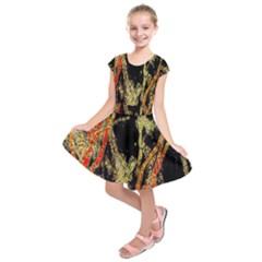 Artistic Effect Fractal Forest Background Kids  Short Sleeve Dress