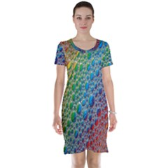 Bubbles Rainbow Colourful Colors Short Sleeve Nightdress
