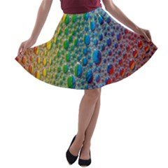 Bubbles Rainbow Colourful Colors A-line Skater Skirt