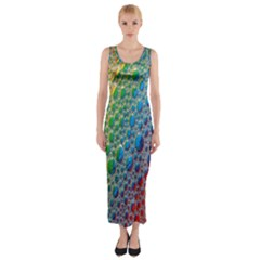 Bubbles Rainbow Colourful Colors Fitted Maxi Dress