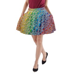 Bubbles Rainbow Colourful Colors A Line Pocket Skirt