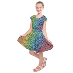 Bubbles Rainbow Colourful Colors Kids  Short Sleeve Dress
