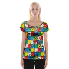 Snakes And Ladders Women s Cap Sleeve Top