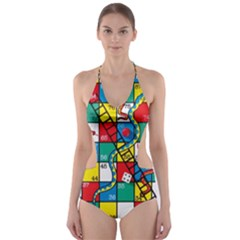 Snakes And Ladders Cut Out One Piece Swimsuit
