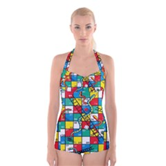Snakes And Ladders Boyleg Halter Swimsuit