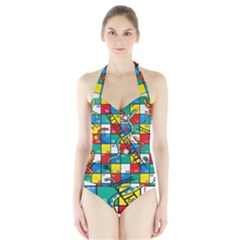 Snakes And Ladders Halter Swimsuit