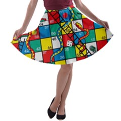 Snakes And Ladders A-line Skater Skirt