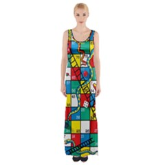 Snakes And Ladders Maxi Thigh Split Dress
