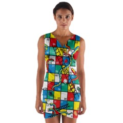 Snakes And Ladders Wrap Front Bodycon Dress