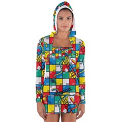 Snakes And Ladders Women s Long Sleeve Hooded T Shirt