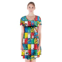 Snakes And Ladders Short Sleeve V-neck Flare Dress