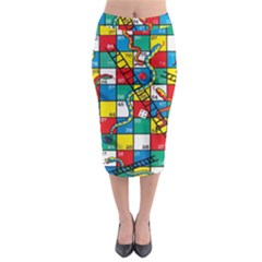 Snakes And Ladders Midi Pencil Skirt