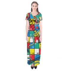 Snakes And Ladders Short Sleeve Maxi Dress
