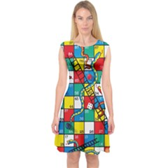Snakes And Ladders Capsleeve Midi Dress