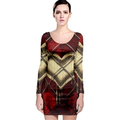 Love Hearth Background Scrapbooking Paper Long Sleeve Bodycon Dress