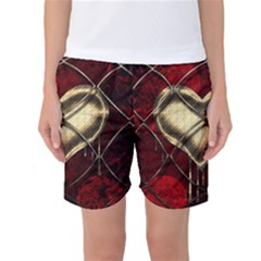 Love Hearth Background Scrapbooking Paper Women s Basketball Shorts