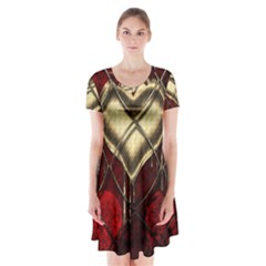 Love Hearth Background Scrapbooking Paper Short Sleeve V Neck Flare Dress