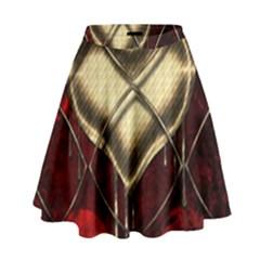 Love Hearth Background Scrapbooking Paper High Waist Skirt