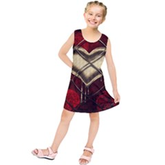Love Hearth Background Scrapbooking Paper Kids  Tunic Dress