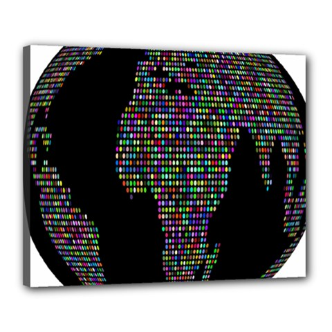 World Earth Planet Globe Map Canvas 20  X 16