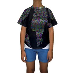 World Earth Planet Globe Map Kids  Short Sleeve Swimwear