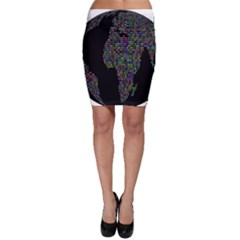 World Earth Planet Globe Map Bodycon Skirt