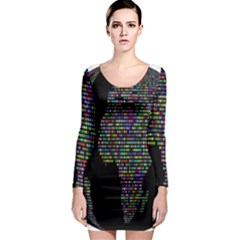 World Earth Planet Globe Map Long Sleeve Bodycon Dress