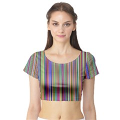 Striped Stripes Abstract Geometric Short Sleeve Crop Top (tight Fit)