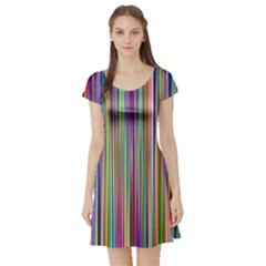Striped Stripes Abstract Geometric Short Sleeve Skater Dress