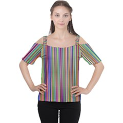 Striped Stripes Abstract Geometric Women s Cutout Shoulder Tee