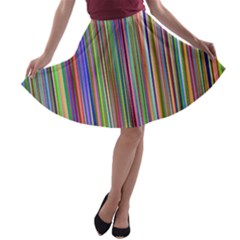 Striped Stripes Abstract Geometric A Line Skater Skirt
